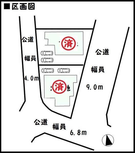 【香芝市下田西 新築一戸建て 】区画図面